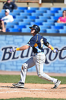 Myrtle Beach Pelicans first baseman Preston Beck (15) at bat during a game against the Wilmington Blue Rocks on April 27, 2014 at Frawley Stadium in Wilmington, Delaware.  Myrtle Beach defeated Wilmington 5-2.  (Mike Janes/Four Seam Images)