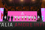 Team Katusha Alpecin on stage at the Teams Presentation held in Piazza Maggiore Bologna before the start of the 2019 Giro d'Italia, Bologna, Italy. 9th May 2019.<br /> Picture: Fabio Ferrari/LaPresse | Cyclefile<br /> <br /> All photos usage must carry mandatory copyright credit (&copy; Cyclefile | Fabio Ferrari/LaPresse)