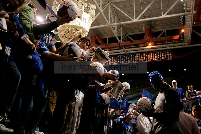 University of Kentucky freshman forward DeMarcus Cousins signs autographs for fans following UK's 88-44 win over Drexel in Rupp Arena on Monday, Dec., 21, 2009. This win marked UK's 2,000th win as a program, and is the first team to reach this milestone...Photo by Ed Matthews | Staff