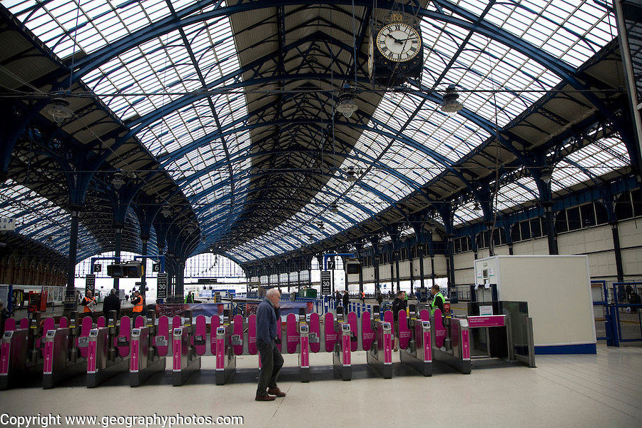 Ticket barriers, Brighton railway station, East Sussex, England