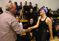 Lars Humer (coach) congratulates Erika Fairweather on her 400m 15years NZ record. Swimming New Zealand Aon National Age Group Championships, Wellington Regional Aquatic Centre, Wellington, New Zealand, Saturday 20 April 2019. Photo: Simon Watts/www.bwmedia.co.nz