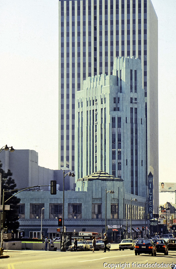 Pellissier Building and Wiltern Theatre, landmark in Los Angeles. Designed by Morgan Walls & Clements, Art Deco style. Blue-green glazed terra-cotta.Opened in 1939.