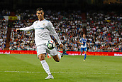 1st October 2017, Santiago Bernabeu, Madrid, Spain; La Liga football, Real Madrid versus Espanyol; Cristiano Ronaldo dos Santos (7) Real Madrid with a shot on goal