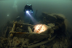 Divers explore the wreck of the Lake Edon, Newquay, Cornwall, UK