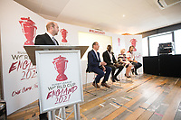Picture by Charlie Forgham-Bailey/SWpix.com 13/07/2017 - International Rugby League - Rugby League World Cup 2021 - RLWC2017 Presentation at ALTITUDE LONDON, SKYLOFT Millbank Tower, London - The panel L-R Dave Woods, Jon Dutton, Martin Offiah, Barbara Slater, Joe Coyd
