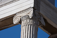 ATHENS, GREECE - APRIL 10 : A low angle view of a Ionic column of the Erechtheum, on April 10, 2007, in Athens, Greece. The Erechtheum was built on the Acropolis, between 421 and 405 BC, in the Ionic Order. The capitals of the columns are decorated with palmettes and a cable pattern between the volutes. (Photo by Manuel Cohen)