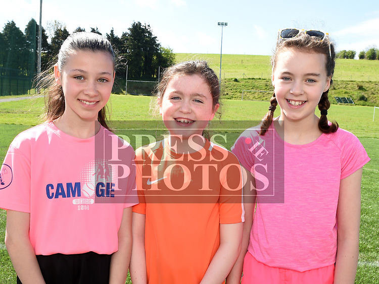 Amy Murray, Mia Brennan and Grace King who took part in the St. Kevins charity relay run. Photo:Colin Bell/pressphotos.ie