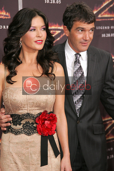"""Catherine Zeta-Jones and Antonio Banderas<br />at the premiere of """"The Legend of Zorro"""". Orpheum Theater, Los Angeles, CA. 10-16-05<br />Dave Edwards/DailyCeleb.com 818-249-4998"""