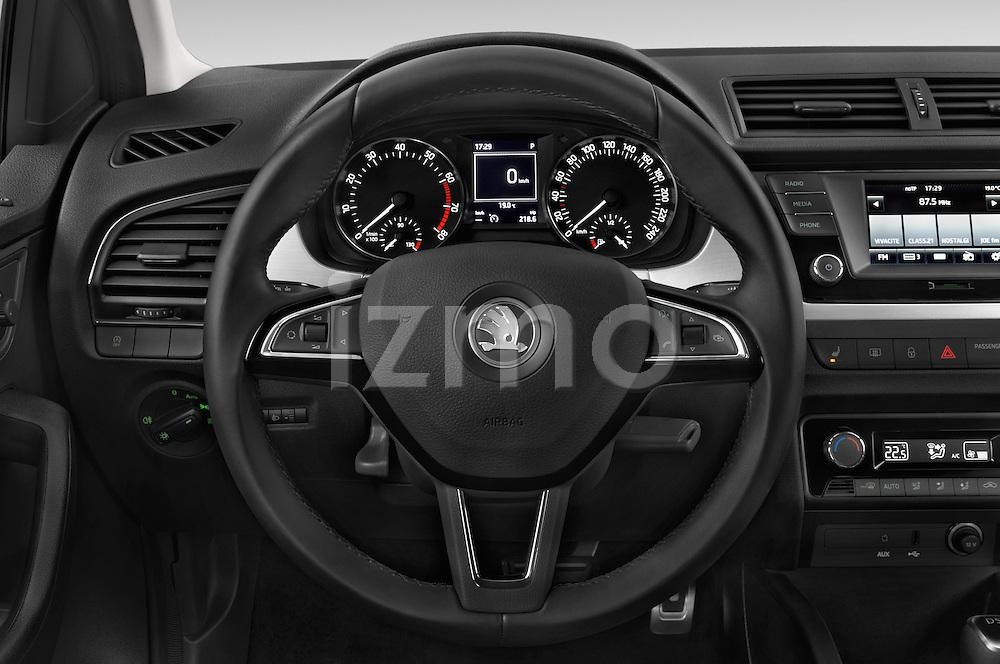 Car pictures of steering wheel view of a 2015 Skoda Fabia Ambition 5 Door Hatchback Steering Wheel