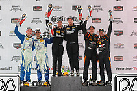 IMSA Continental Tire SportsCar Challenge<br /> Road America 120<br /> Road America, Elkhart Lake, WI USA<br /> Saturday 5 August 2017<br /> 27, Mazda, Mazda MX-5, ST, Britt Casey Jr, Tom Long, 25, Mazda, Mazda MX-5, ST, Chad McCumbee, Stevan McAleer, 56, Porsche, Porsche Cayman, ST, Jeff Mosing, Eric Foss, podium<br /> World Copyright: Michael L. Levitt<br /> LAT Images