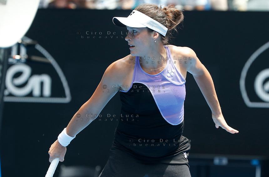 15th January 2019, Melbourne Park, Melbourne, Australia; Australian Open Tennis, day 2; Tatjana Maria of Germany returns the ball against Serena Willams of USA