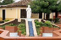Fountain and statue of Nicaraguan poet Ruben Dario in Ciudad Dario, Nicaragua