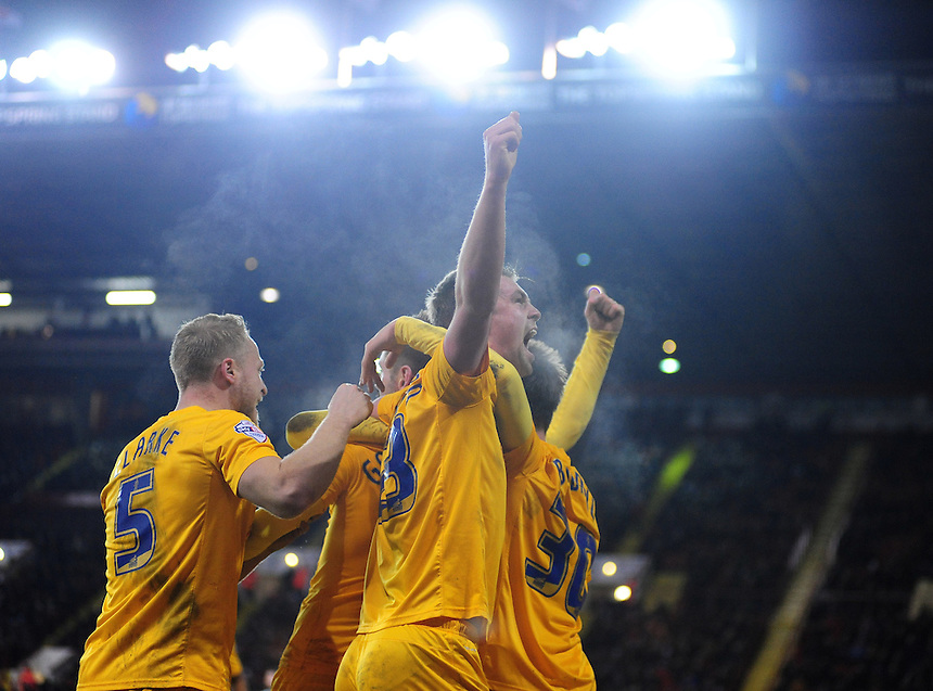 Preston North End's Paul Huntington, right, celebrates scoring his sides second goal with team-mates<br /> <br /> Photographer Chris Vaughan/CameraSport<br /> <br /> Football - The FA Cup Fourth Round Replay - Sheffield United v Preston North End - Tuesday 3rd February 2015 - Bramall Lane - Sheffield<br /> <br /> &copy; CameraSport - 43 Linden Ave. Countesthorpe. Leicester. England. LE8 5PG - Tel: +44 (0) 116 277 4147 - admin@camerasport.com - www.camerasport.com
