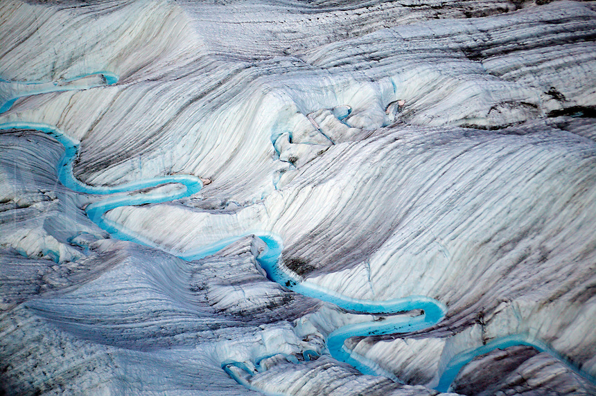 Meltwater on the surface of the Root Glacier, Wrangell-St. Elias National Park and Preserve, Alaska