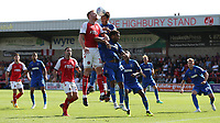 Fleetwood Town's Cian Bolger battles with Wimbledon's Andy Barcham and Will Nightingale<br /> <br /> Photographer Stephen White/CameraSport<br /> <br /> The EFL Sky Bet League One - Fleetwood Town v AFC Wimbledon - Saturday 4th August 2018 - Highbury Stadium - Fleetwood<br /> <br /> World Copyright &copy; 2018 CameraSport. All rights reserved. 43 Linden Ave. Countesthorpe. Leicester. England. LE8 5PG - Tel: +44 (0) 116 277 4147 - admin@camerasport.com - www.camerasport.com