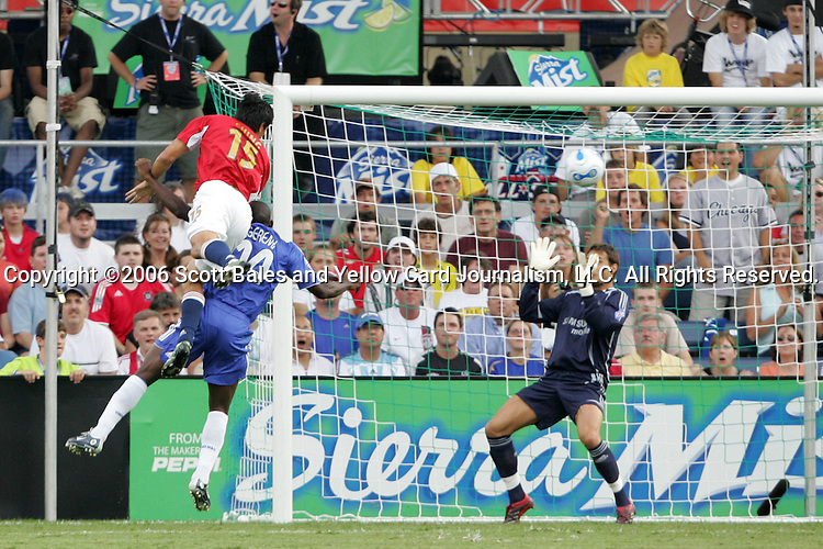 5 August 2006: MLS's Brian Ching  (15) heads the ball wide against the defense of Chelsea's Geremi Njitap (24) and goalkeeper Petr Cech (right). The Major League Soccer All-Stars defeated Chelsea Football Club from the English Premier League 1-0 at Toyota Park in Bridgeview, Illinois in the 2006 Sierra Mist Major League Soccer All-Star Game.