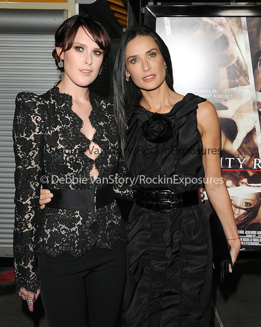 Rumer Willis & Demi Moore Kutcher at The Summit Entertainment's Premiere of Sorority Row held at The Arclight Theatre in Hollywood, California on September 03,2009                                                                   Copyright 2009 DVS / RockinExposures