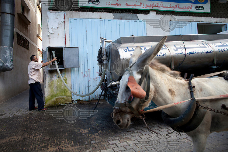 A donkey cart passes Musa Maatouq Al-Motwaq, a manager of the Al-Nile Water Desalination Plant, as he fills a tanker with water at the plant in Jabaliya. The plant, which draws on ground water, provides free drinking water to people living in the surrounding area.