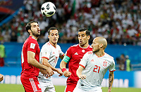 KAZAN - RUSIA, 20-06-2018: Ehsan HAJI SAFI (CAP) y Karim ANSARIFARD de RI de Irán disputan el balón con Lucas VAZQUEZ y David SILVA de España durante partido de la primera fase, Grupo B, por la Copa Mundial de la FIFA Rusia 2018 jugado en el estadio Kazan Arena en Kazán, Rusia. /  Ehsan HAJI SAFI (CAP) and Karim ANSARIFARD of IR Iran fight for the ball with Lucas VAZQUEZ and David SILVA of Spain during match of the first phase, Group B, for the FIFA World Cup Russia 2018 played at Kazan Arena stadium in Kazan, Russia. Photo: VizzorImage / Julian Medina / Cont