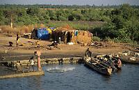 Afrique/Afrique de l'Ouest/Sénégal/Parc National de Basse-Casamance/Niambalal : Pêcheur à l'épervier sur un bolon