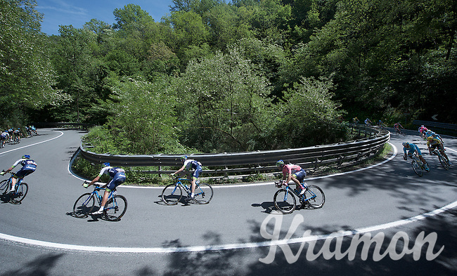 Michael Matthews (AUS/Orica-GreenEDGE), as the race overall leader in the maglia rosa, is escorted through the stage by his teammates<br /> <br /> 2015 Giro<br /> stage 3: Rapallo - Sestri Levante (136km)