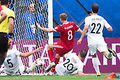 17th June 2017, St Petersburg, Russia; FIFA 2017 Confederations Cup football, Russia versus New Zealand; Group A - Saint Petersburg Stadium,  Russia's Denis Glushakov scores against New Zealand's Michael Boxall, Tommy Smith and Andrew Durante to make it 1:0 during the Confederations Cup Group A soccer match between Russia and New Zealand at the stadium in Saint Petersburg, Russia, 17 June 2017.