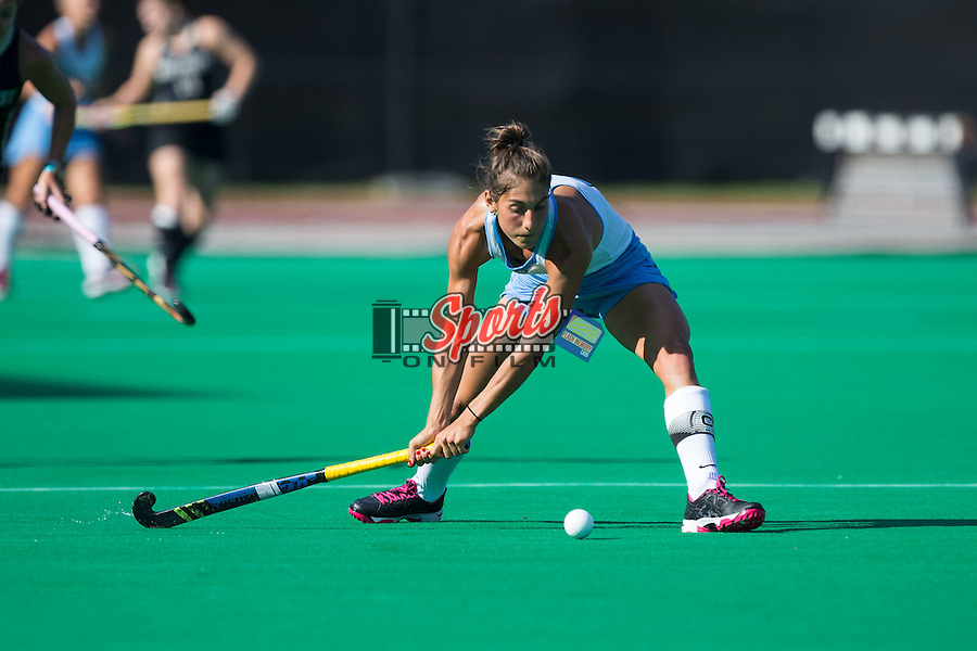 Emily Wold (9) of the North Carolina Tar Heels passes the ball during first half action against the Wake Forest Demon Deacons at Kentner Stadium on October 23, 2015 in Winston-Salem, North Carolina.  The Demon Deacons defeated the Tar Heels 3-2.  (Brian Westerholt/Sports On Film)