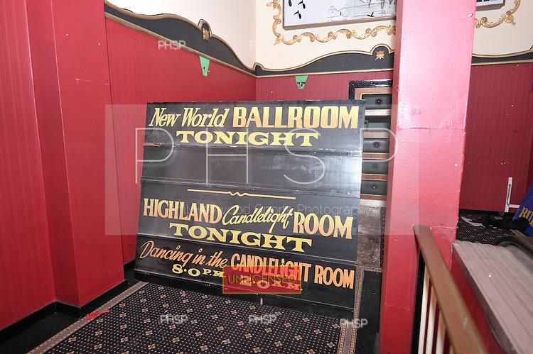 "Original signage for ""New World Ballroom"" and Highland ""Candlelight"" Room"