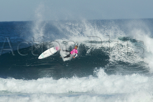 April 2nd 2017, Margaret River,  Perth, Western Australia;   The Drug Aware Margaret River Pro Surfing Competition; Sally Fitzgibbons (AUS) wipes out on her first wave duringb her heat on day 5 against Tatiana Weston-Web (HAW) Fitzgibbons won the heat