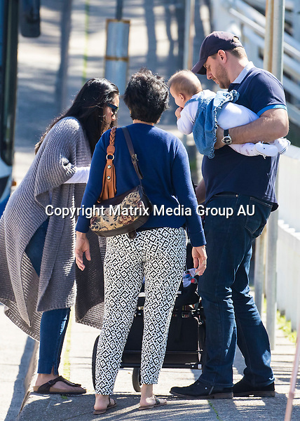 1 SEPTEMBER 2015 SYDNEY AUSTRALIA<br /> <br /> NON EXCLUSIVE PICTURES<br /> <br /> Manu Feildel pictured with his wife Clarissa and his baby daughter Charlee along with granny and a friend enjoying a morning at Bronte Beach.<br /> <br /> *No web without clearance*<br /> <br /> MUST CALL PRIOR TO USE <br /> <br /> +61 2 9211-1088. <br /> <br /> Note: All editorial images subject to the following: For editorial use only. Additional clearance required for commercial, wireless, internet or promotional use.Images may not be altered or modified. Matrix Media Group makes no representations or warranties regarding names, trademarks or logos appearing in the images.