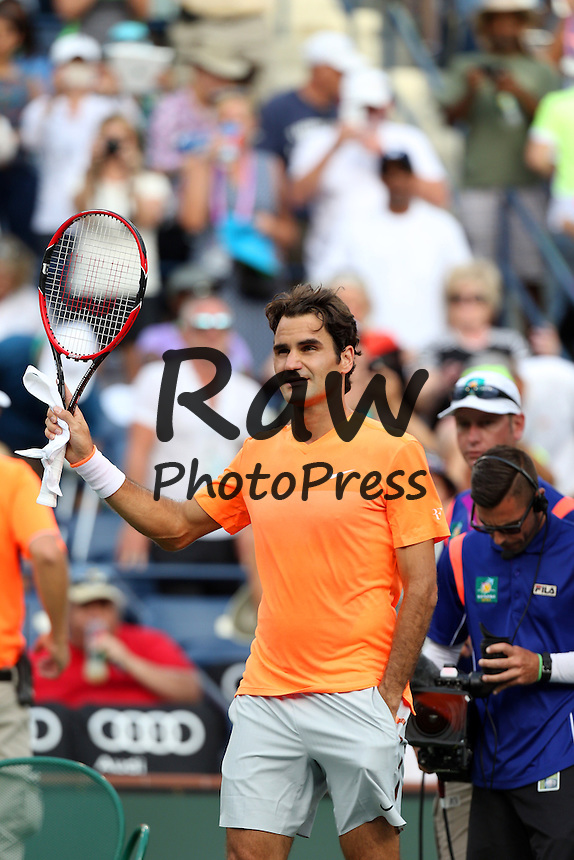 Roger Federer ha participado en el torneo de Indian Wells contra Diego Schwartzman.<br /> <br /> 15 March, 2015 : Roger Federer of Switzerland in action against Diego Schwartzman of Argentina during the BNP Paribas Open at Indian Wells Tennis Garden in Indian Wells, California.Charles Baus/CSM.