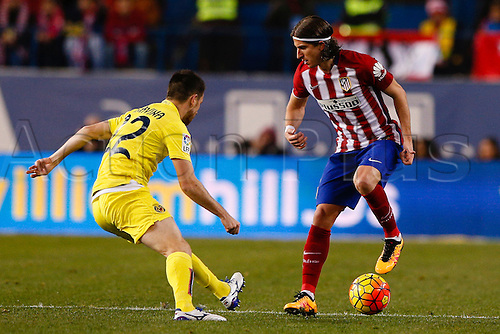 21.02.2016. Madrid, Spain.  Filipe Luis Kasmirski (3) Atletico de Madrid during the La Liga football match between Atletico de Madrid and Villerreal CF at the Vicente Calderon stadium in Madrid, Spain, February 21, 2016 .