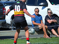 Action from the 2019 Swindale Shield Wellington club rugby match between Paremata-Plimmerton and Poneke at Ngatitoa Domain in Wellington, New Zealand on Saturday, 30 March 2019. Photo: Dave Lintott / lintottphoto.co.nz
