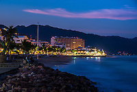 Fine Art Landscape Photograph, Twilight on the Malecon in Puerto Vallarta, Mexico. <br />