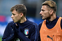Nicolo Barella and Ciro Immobile during the warm up ahead the Nations League League A group 3 football match between Italy and Portugal at stadio Giuseppe Meazza, Milano, November, 17, 2018 <br /> Foto Andrea Staccioli / Insidefoto