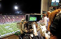 Oct. 8, 2009; Las Vegas, NV, USA; Detailed view of a Versus camera operator during the game between the California Redwoods against the Las Vegas Locomotives in the inaugural United Football League game at Sam Boyd Stadium. Las Vegas defeated California 30-17. Mandatory Credit: Mark J. Rebilas-