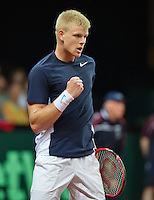 Gent, Belgium, November 27, 2015, Davis Cup Final, Belgium-Great Britain, First match, Kyle Edmund (GRB) reacts<br /> © Henk Koster/Alamy Live News