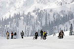A ski party takes off from the phase one Kongdori mid station of the northern hemisphere's highest gondola at the ski fields at Gulmarg in the disputed northern Indian state of Kashmir. 60 kilometres's from Srinagar,  tourists are drawn from all over the world for the cheap skiing and Indian experience.