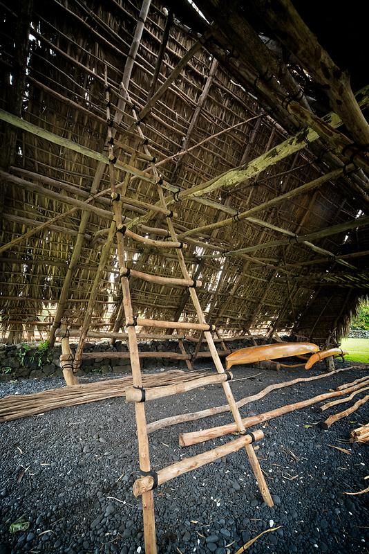 Ladder in canoe shed. Piilanihale Heiau. Kahanu Garden. Hana Hawaii