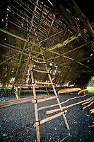 Ladder in canoe shed. Piilanihale Heiau. Kahanu Garden. Hana Hawaii