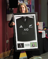 Pictured: Kate Rees with All Blacks shirt auctioned Thursday 08 April 2016<br /> Re: Zimkids dinner at the Liberty Stadium, Swansea, UK