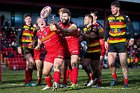 Picture by Alex Whitehead/SWpix.com - 11/02/2018 - Rugby League - Betfred Championship - Dewsbury Rams vs London Broncos - Tetleys Stadium, Dewsbury, England - London's Edward Battye celebrates his try.