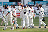 Simon Harmer of Essex celebrates with his team mates after taking the wicket of Dan Mousley during Essex CCC vs Warwickshire CCC, Specsavers County Championship Division 1 Cricket at The Cloudfm County Ground on 16th July 2019