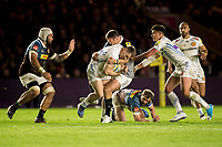Exeter Chiefs' Sam Hill is tackled by Harlequins' Jamie Roberts<br /> <br /> Photographer Bob Bradford/CameraSport<br /> <br /> Aviva Premiership Round 20 - Harlequins v Exeter Chiefs - Friday 14th April 2016 - The Stoop - London<br /> <br /> World Copyright &copy; 2017 CameraSport. All rights reserved. 43 Linden Ave. Countesthorpe. Leicester. England. LE8 5PG - Tel: +44 (0) 116 277 4147 - admin@camerasport.com - www.camerasport.com