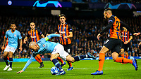Manchester City's David Silva is sent sprawling by Shakhtar Donetsk's Maycon<br /> <br /> Photographer Alex Dodd/CameraSport<br /> <br /> UEFA Champions League Group F - Manchester City v Shakhtar Donetsk - Wednesday 7th November 2018 - City of Manchester Stadium - Manchester<br />  <br /> World Copyright &copy; 2018 CameraSport. All rights reserved. 43 Linden Ave. Countesthorpe. Leicester. England. LE8 5PG - Tel: +44 (0) 116 277 4147 - admin@camerasport.com - www.camerasport.com