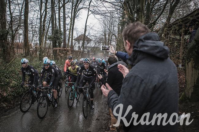 Team Sky leading the peloton up the Trieu. <br /> <br /> 73th Dwars Door Vlaanderen (1.UWT)<br /> 1day race: Roeselare › Waregem BEL (180km)
