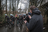 Team Sky leading the peloton up the Trieu. <br /> <br /> 73th Dwars Door Vlaanderen (1.UWT)<br /> 1day race: Roeselare &rsaquo; Waregem BEL (180km)