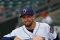Jacksonville Jumbo Shrimp pitcher Cody Poteet (21) in the dugout before a Southern League game against the Mobile BayBears on May 28, 2019 at Baseball Grounds of Jacksonville in Jacksonville, Florida.  Mobile defeated Jacksonville 2-1.  (Mike Janes/Four Seam Images)