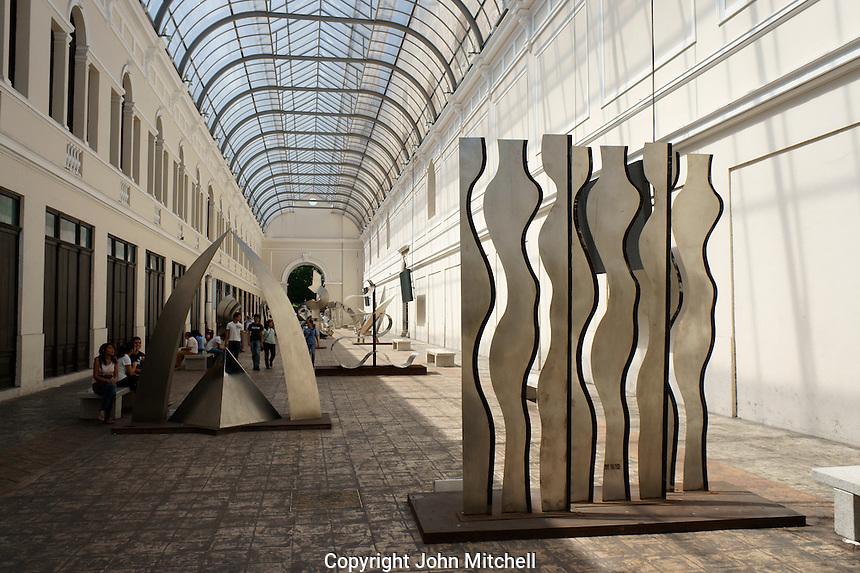 Modern metal sculptures in the  Pasaje de la Revolucion walkway, Merida, Yucatan, Mexico.