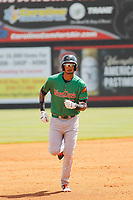 Down East Wood Ducks outfielder Jairo Beras (16) running the bases after hitting a home run during a game against the Carolina Mudcats  on April 27, 2017 at Five County Stadium in Zebulon, North Carolina. Carolina defeated Down East 9-7. (Robert Gurganus/Four Seam Images)